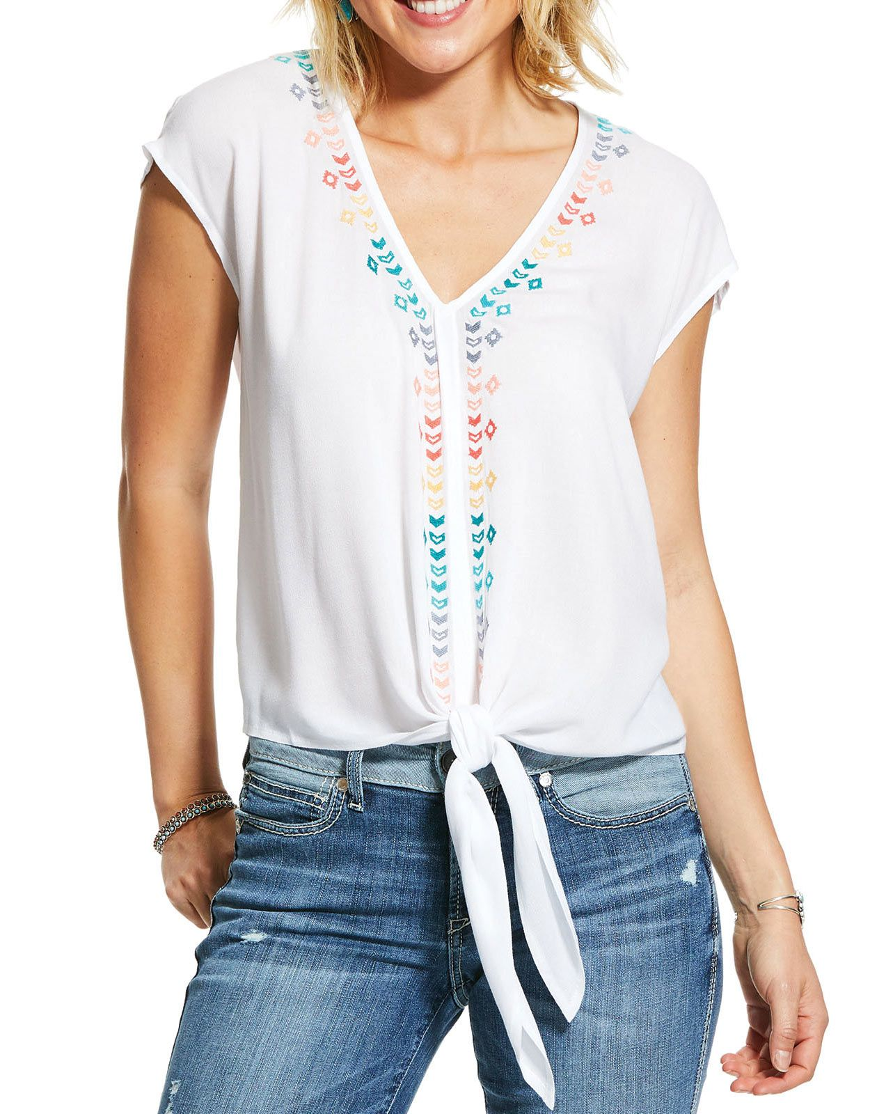Ariat Women's Bonnie Short Sleeve Embroidered Top - White