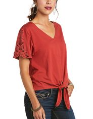 Ariat Women's Hillary Short Sleeve Solid Top - Terra Rouge