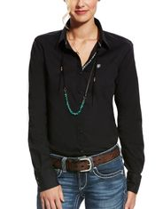 Ariat Women's Kirby Stretch Long Sleeve Solid Button Down Shirt - Black