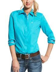 Ariat Women's Kirby Stretch Long Sleeve Solid Button Down Shirt - Bluebird
