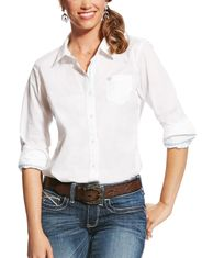 Ariat Women's Kirby Stretch Long Sleeve Solid Button Down Shirt - White