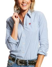 Ariat Women's Kirby Stretch Long Sleeve Stripe Button Down Shirt - Classic Blue