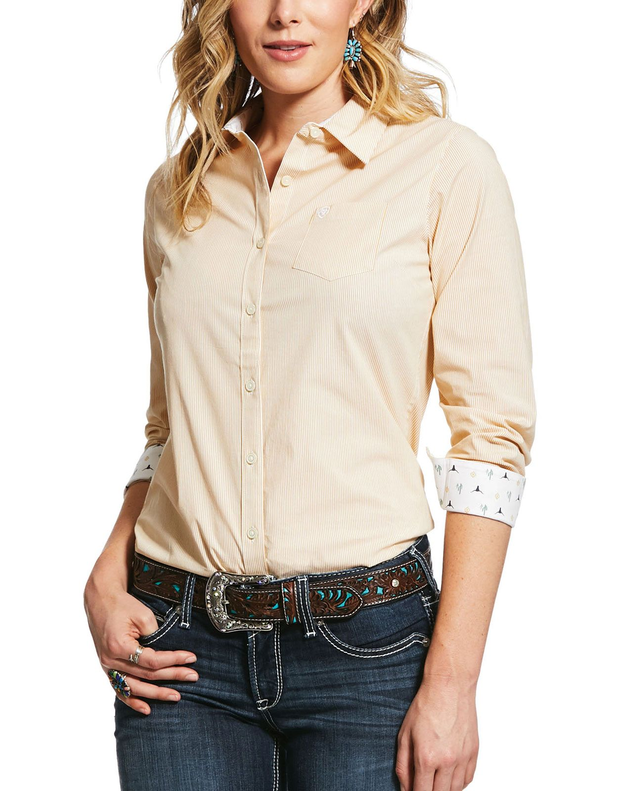 Ariat Women's Kirby Stretch Long Sleeve Stripe Button Down Shirt - Ochre (Closeout)