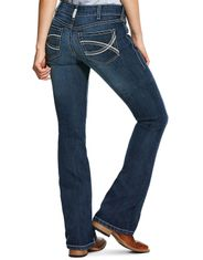 Ariat Women's R.E.A.L. Arrow Fit Stretch Mid Rise Straight Fit Boot Cut Jeans - Gemstone