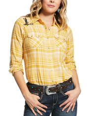 Ariat Women's R.E.A.L. Sunrise Long Sleeve Embroidered Plaid Snap Shirt - Ochre (Closeout)