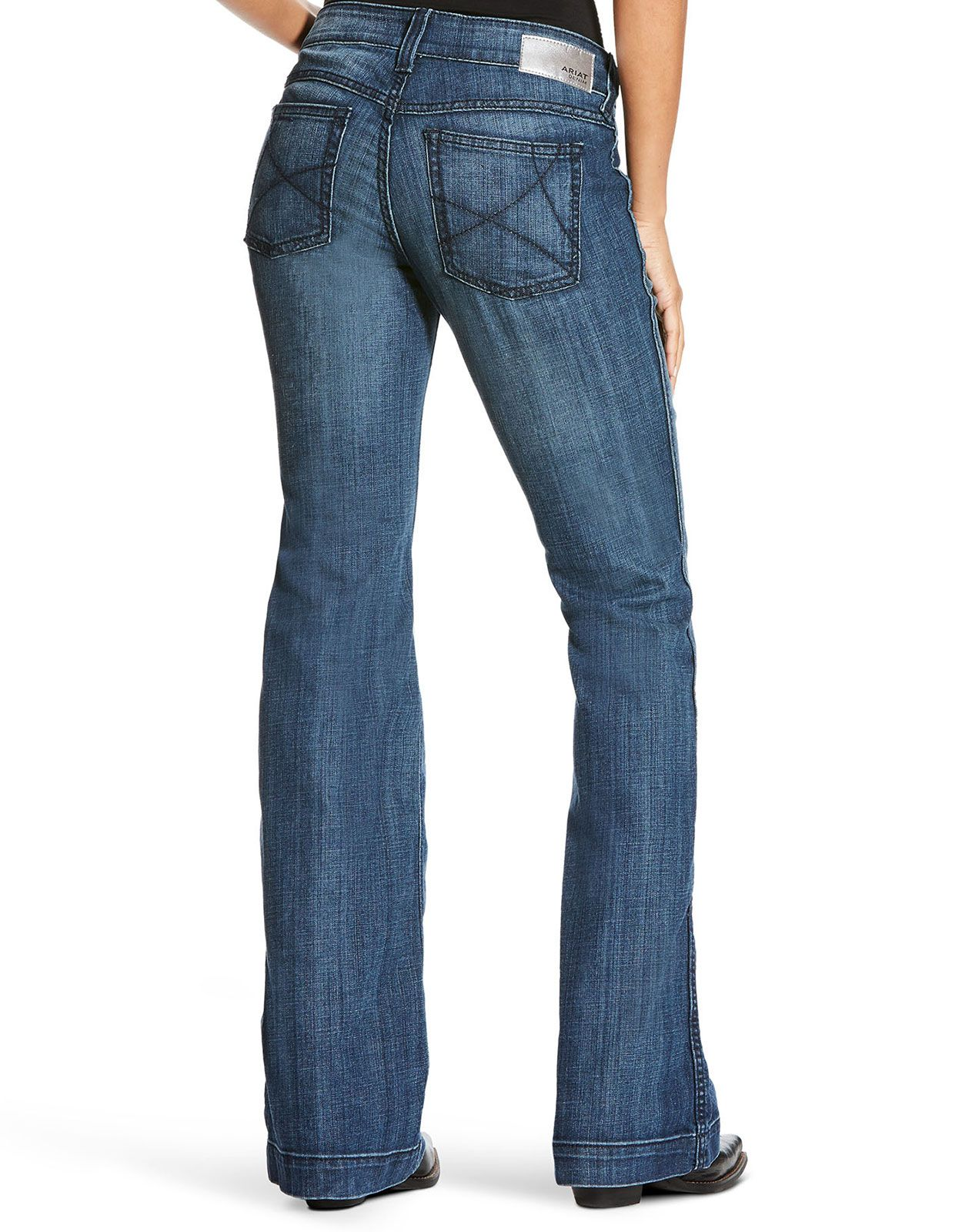 Ariat Women's R.E.A.L. Trouser Mid Rise Relaxed Fit Flare Leg Jeans - Bluebell