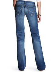 Ariat Women's REAL Trouser Stretch Mid Rise Relaxed Fit Flare Leg Jeans - Bonnie