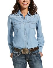 Ariat Women's REAL Long Sleeve Print Snap Shirt - Indigo