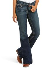 Ariat Women's Real Mid Rise Boot Cut Whipstitch Jeans - Ocean