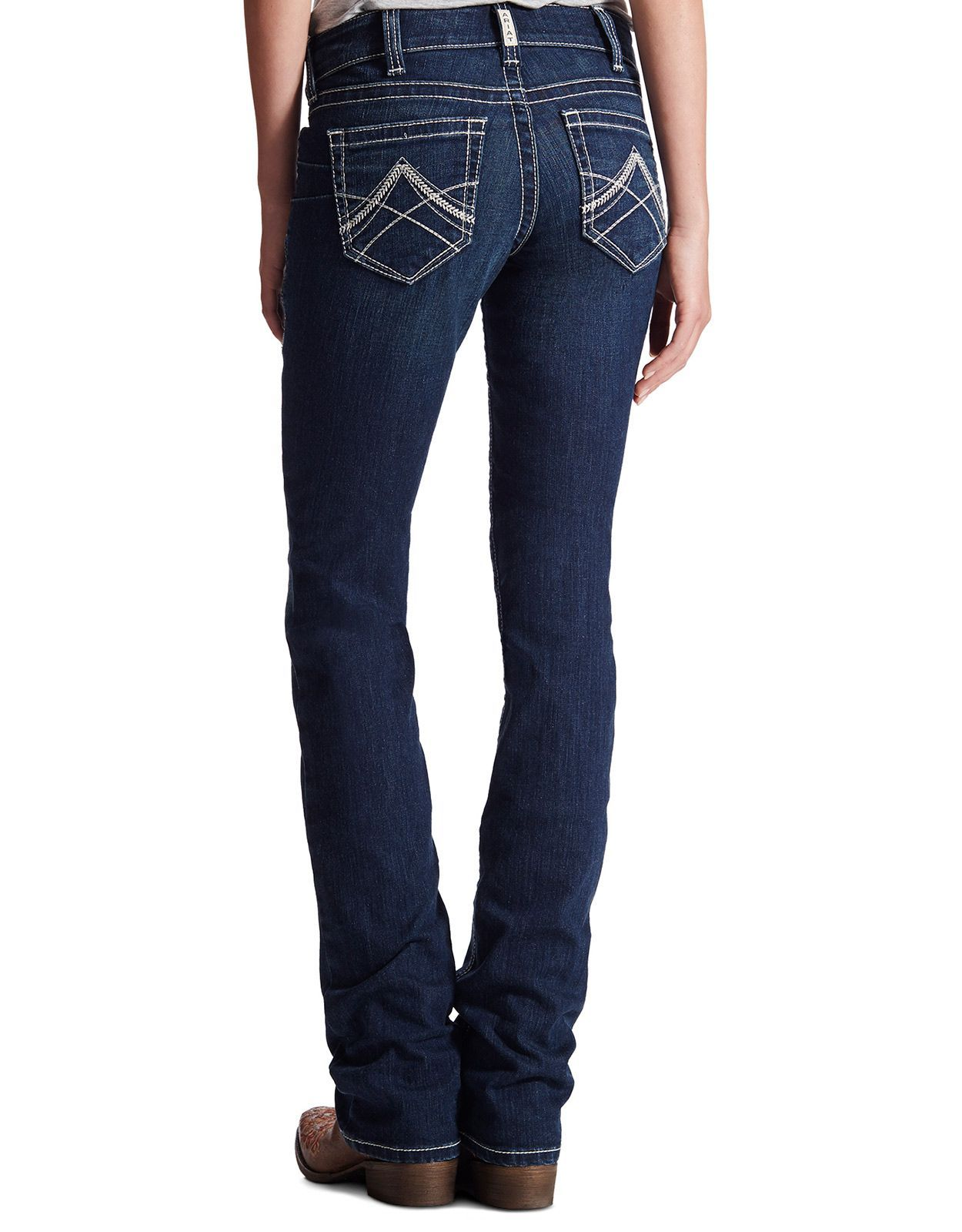 Ariat Women's R.E.A.L. Mid Rise Slim Stackable Straight Leg Jeans - Ocean