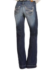 Ariat Women's Trouser Stretch Mid Rise Relaxed Fit Flare Leg Jeans - Marine