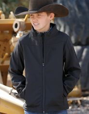 Cinch Boy's Bonded Logo Solid Zip Jacket - Black