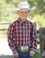 Cinch Boy's Long Sleeve Plaid Button Down Shirt - Red