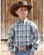 Cinch Boy's Long Sleeve Plaid Button Down Shirt - White