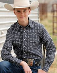 Cinch Boy's Long Sleeve Print Snap Shirt - Grey