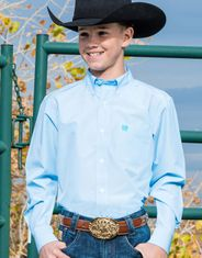 Cinch Boy's Long Sleeve Stripe Button Down Shirt - Light Blue