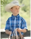 Cinch Boy's Short Sleeve Plaid Button Down Shirt - Royal
