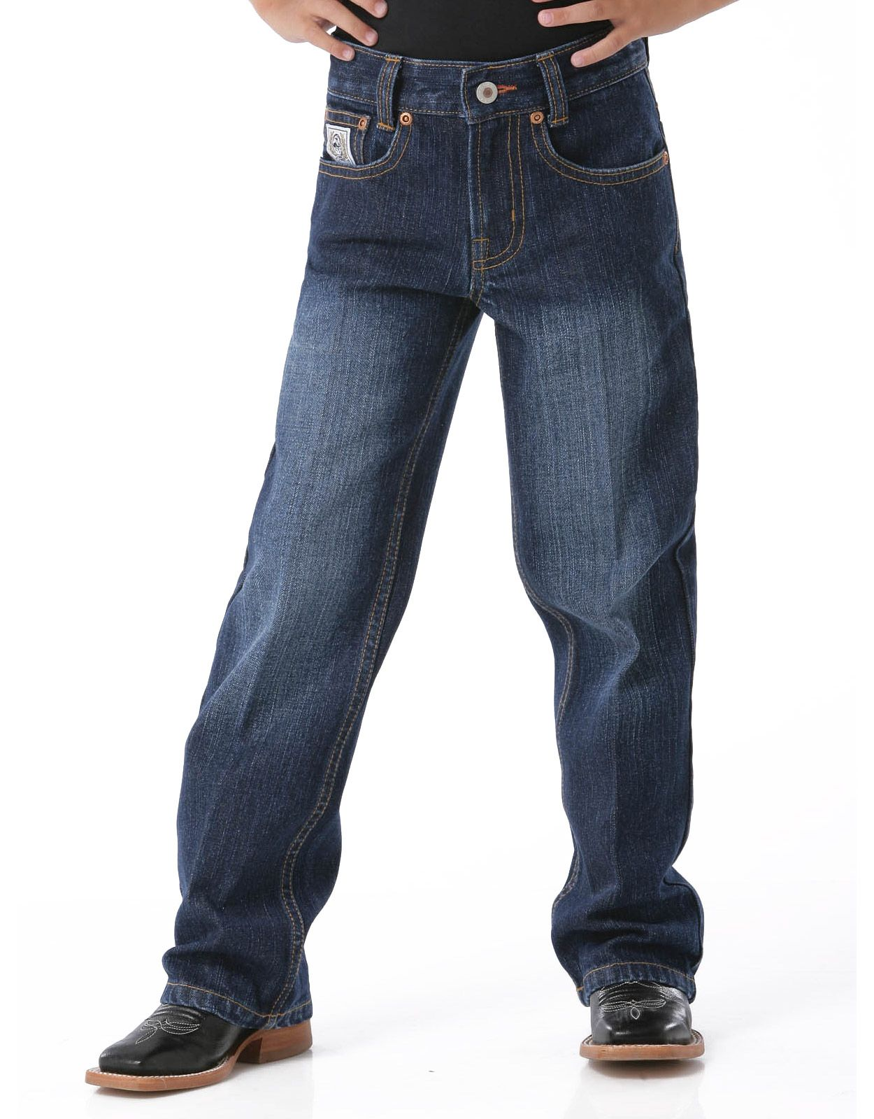 Cinch Boy's White Label Mid Rise Relaxed Fit Straight Leg Jeans (Sizes 1T-4T) - Dark Stonewash