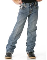 Cinch Boy's White Label Mid Rise Relaxed Fit Straight Leg Jeans (Sizes 1T-4T) - Light Stonewash