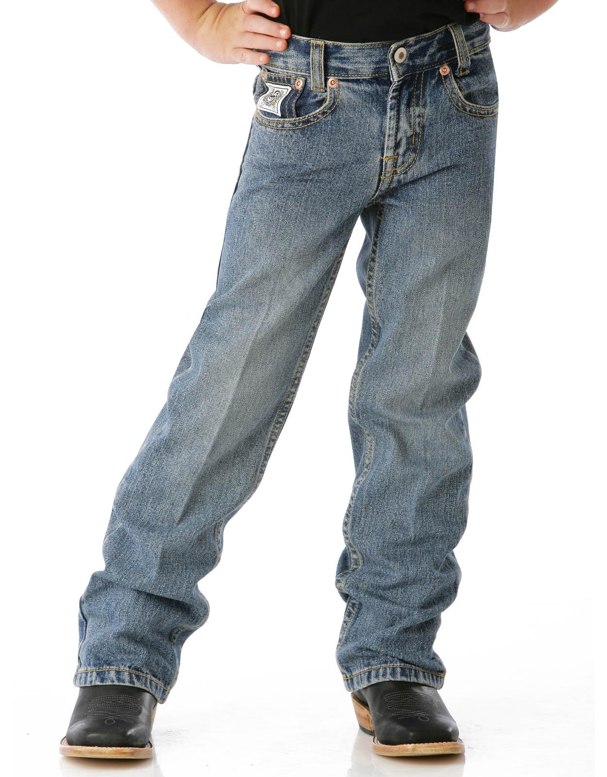 Cinch Boy's White Label Mid Rise Relaxed Fit Straight Leg Jeans (Sizes 4-7) - Light Stonewash