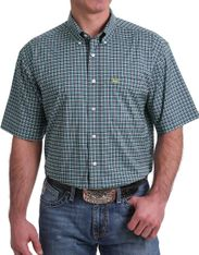 Cinch Men's Arenaflex Short Sleeve Check Button Down Shirt - Navy