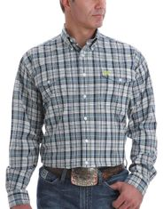 Cinch Men's Double Pocket Long Sleeve Plaid Button Down Shirt - Blue