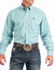 Cinch Men's Long Sleeve Plaid Button Down Shirt - Blue