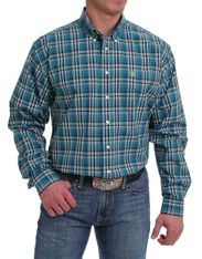 Cinch Men's Long Sleeve Plaid Button Down Shirt - Teal