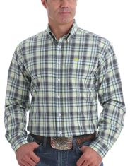 Cinch Men's Long Sleeve Plaid Button Down Shirt - White