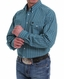 Cinch Men's Long Sleeve Plaid Double Pocket Button Down Shirt - Teal
