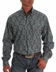 Cinch Men's Long Sleeve Print Button Down Shirt - Gray