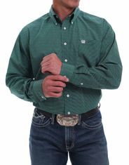 Cinch Men's Long Sleeve Print Button Down Shirt - Green