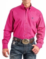 Cinch Men's Long Sleeve Print Button Down Shirt - Pink