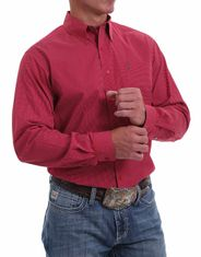 Cinch Men's Long Sleeve Print Button Down Shirt - Red