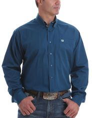 Cinch Men's Long Sleeve Solid Button Down Shirt - Blue