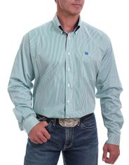 Cinch Men's Long Sleeve Stripe Button Down Shirt - Green