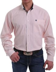 Cinch Men's Long Sleeve Stripe Button Down Shirt - Peach