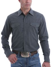Cinch Men's Modern Fit Long Sleeve Heather Snap Shirt - Heather Charcoal