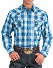 Cinch Men's Modern Fit Long Sleeve Plaid Snap Shirt - Blue