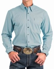 Cinch Men's Modern Fit Long Sleeve Print Button Down Shirt - Blue