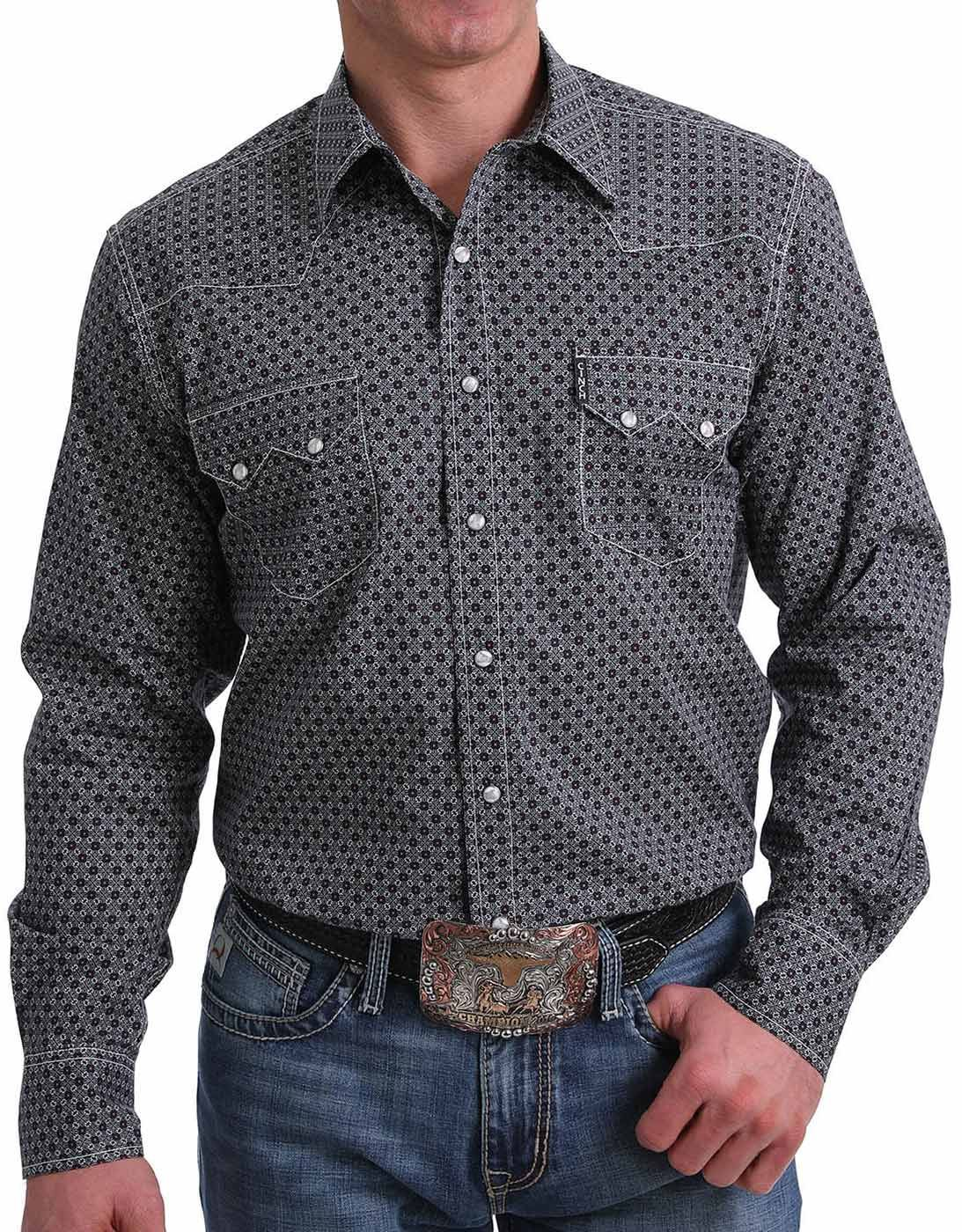 Cinch Men's Modern Fit Long Sleeve Print Snap Shirt - Multi