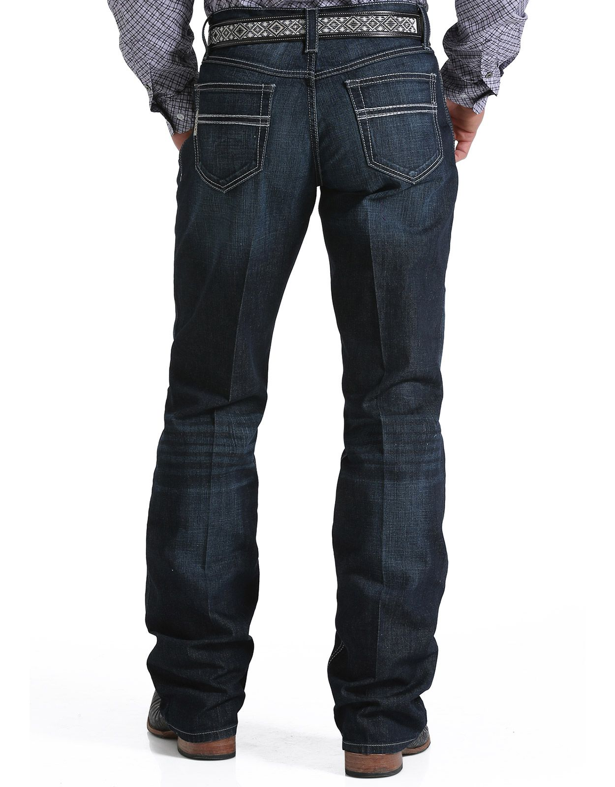 Cinch Men's Performance Denim Carter 2.4 Mid Rise Relaxed Fit Boot Cut Jeans - Rinse