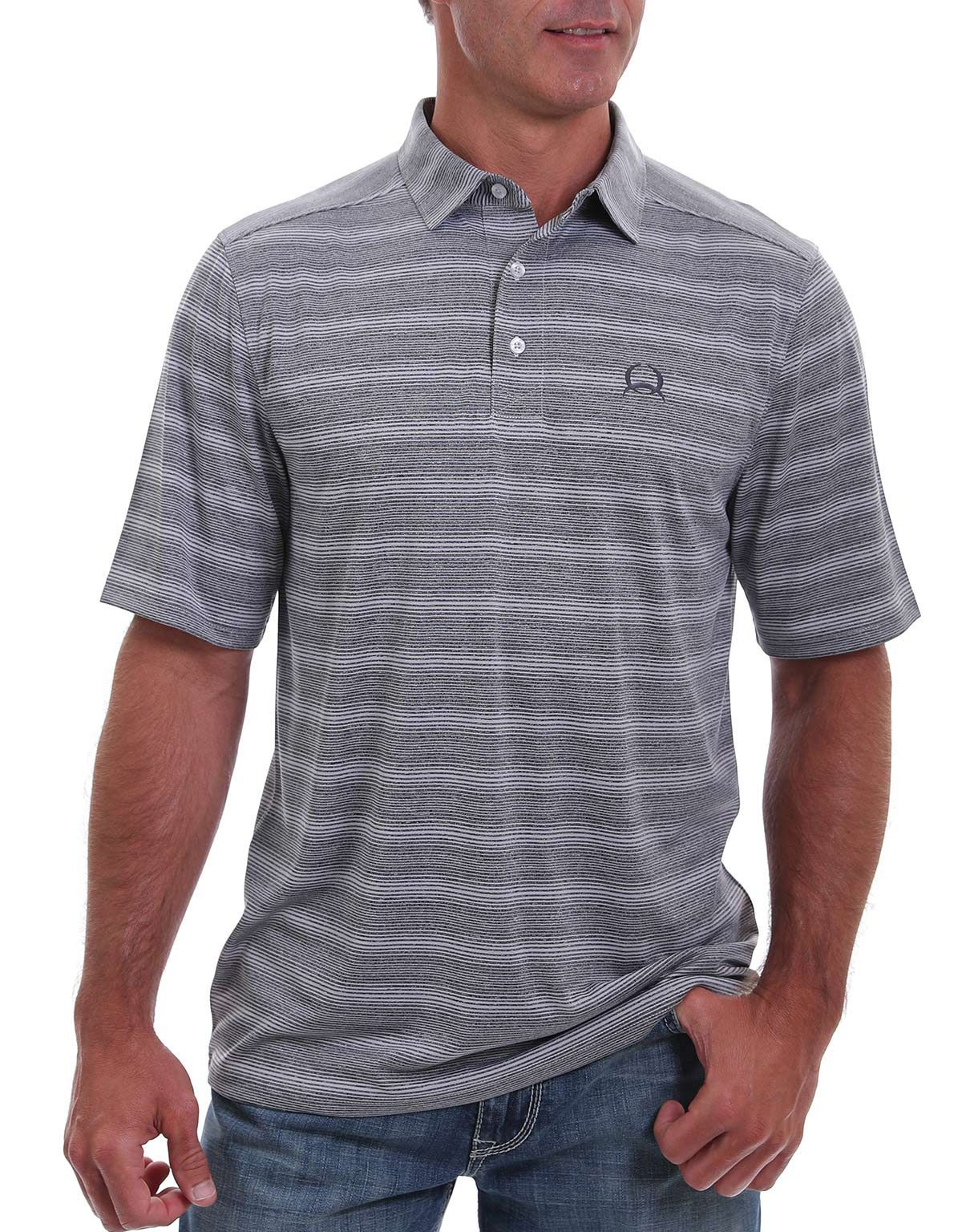 Cinch Men's Short Sleeve Arena Flex Striped Shirt - Gray