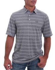 Cinch Men's Short Sleeve Arena Flex Striped Shirt - Gray (Closeout)