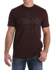 Cinch Men's Short Sleeve Heathered Logo Tee Shirt- Burgundy