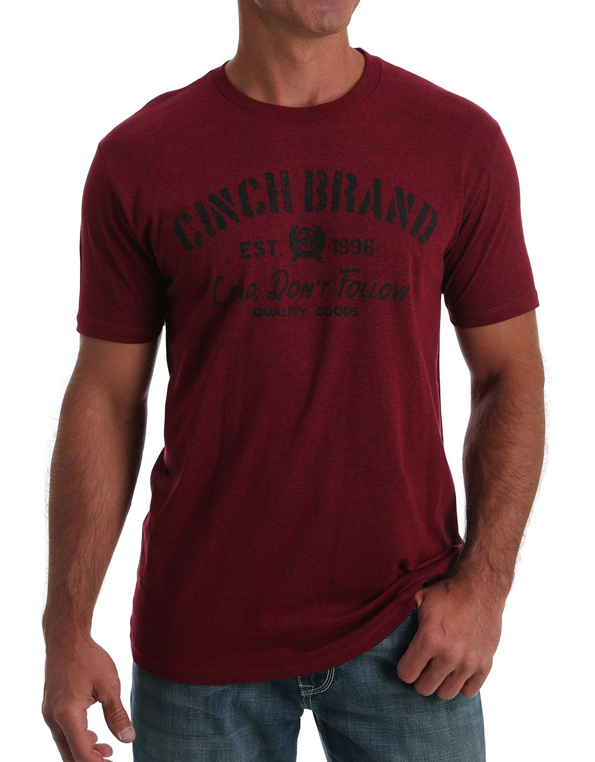 Cinch Men's Short Sleeve Heathered Logo Tee Shirt- Red