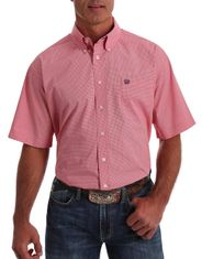 Cinch Men's Short Sleeve Print Button Down Shirt - Coral
