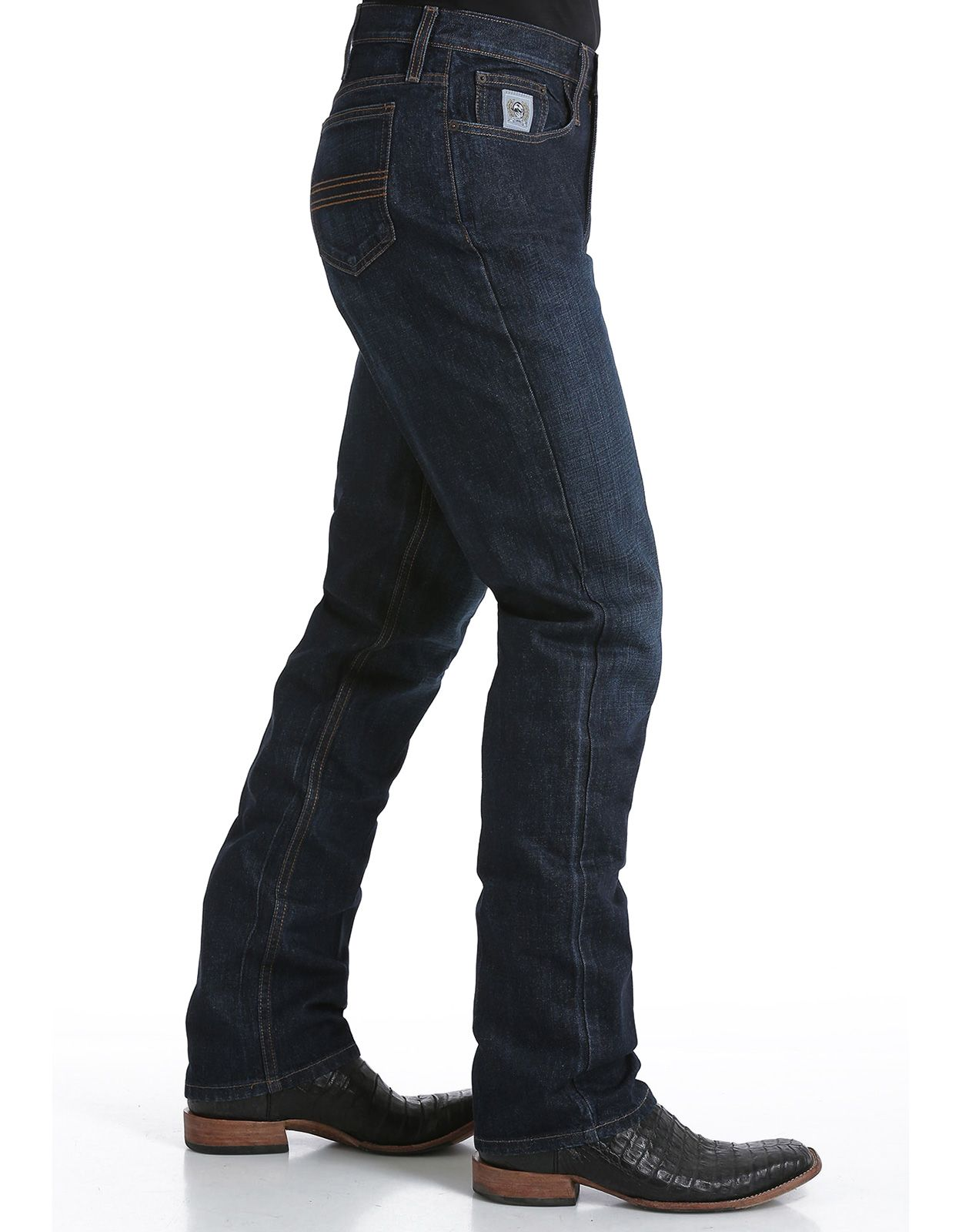 Cinch Men's Silver Label Mid Rise Slim Fit Straight Leg Jeans - Dark Stonewash