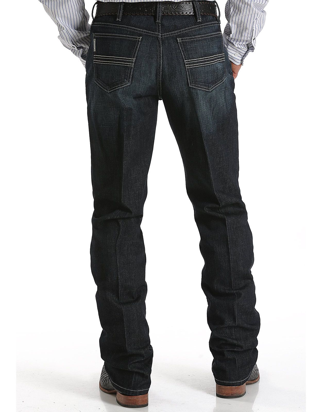 Cinch Men's Silver Label Performance Denim Mid Rise Slim Fit Straight Leg Jeans - Rinse