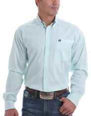 Cinch Men's Stretch Long Sleeve Print Button Down Shirt - Light Blue